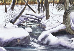 Painting, watercolour - Winter waterfall