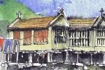 Pen_ink_watercolour sketchbook detail of Combarro Galicia, Spain