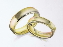Painting, watercolour - gold rings